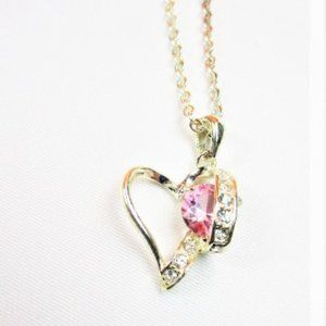 Pink Tourlamine and Rhinestone Heart Necklace-New
